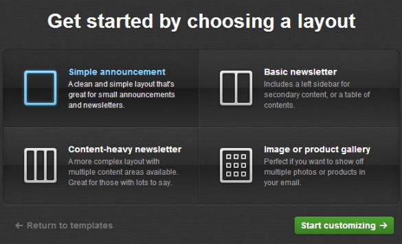 Choix du template dans la creation de votre newsletter