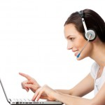 Support phone operator in headset at workplace, isolated