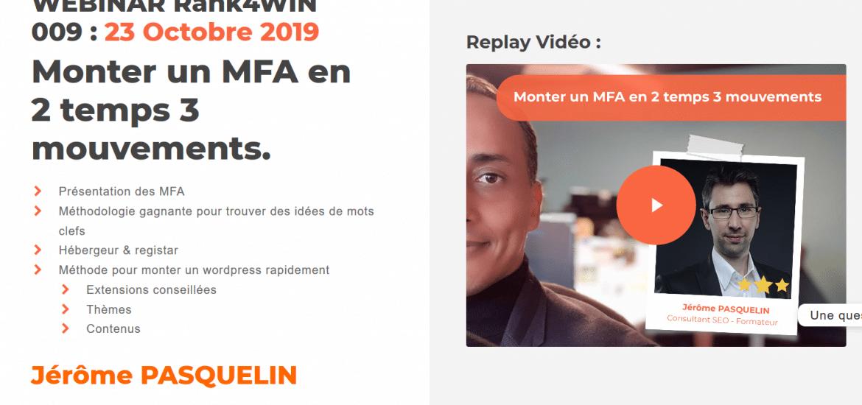 Générer des revenus avec un MFA (site de niche Made for Amazon) : Vidéo Webinar Rank4Win
