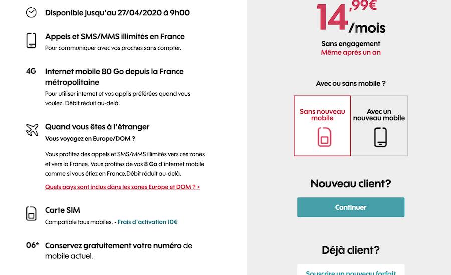 Forfait mobile Sosh : le forfait 80 GO à 14,99 €/mois sur shop.sosh.fr
